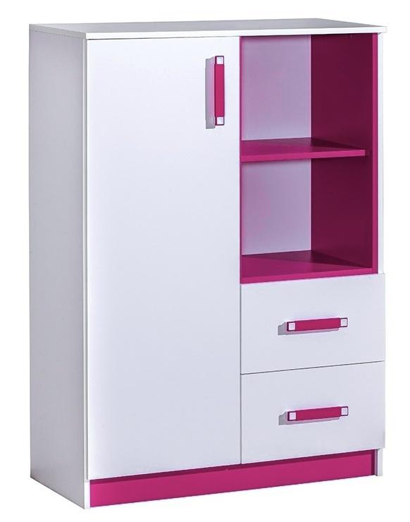 Komoda vysoká TRAFICO 6 biela/ružová