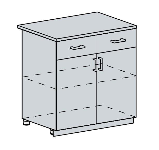 80D1S2 d. skříňka 2-dveřová se zásuvkou PRAGA bk/wenge