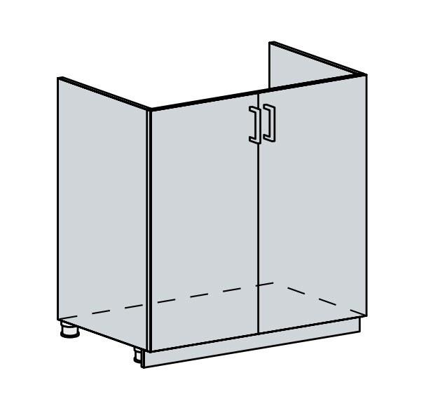 80DZ d. skříňka 2-dveřová pod dřez PRAGA bk/wenge