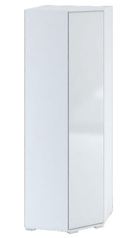 Šatní rohová skříň TERRA bílá/bílý lesk