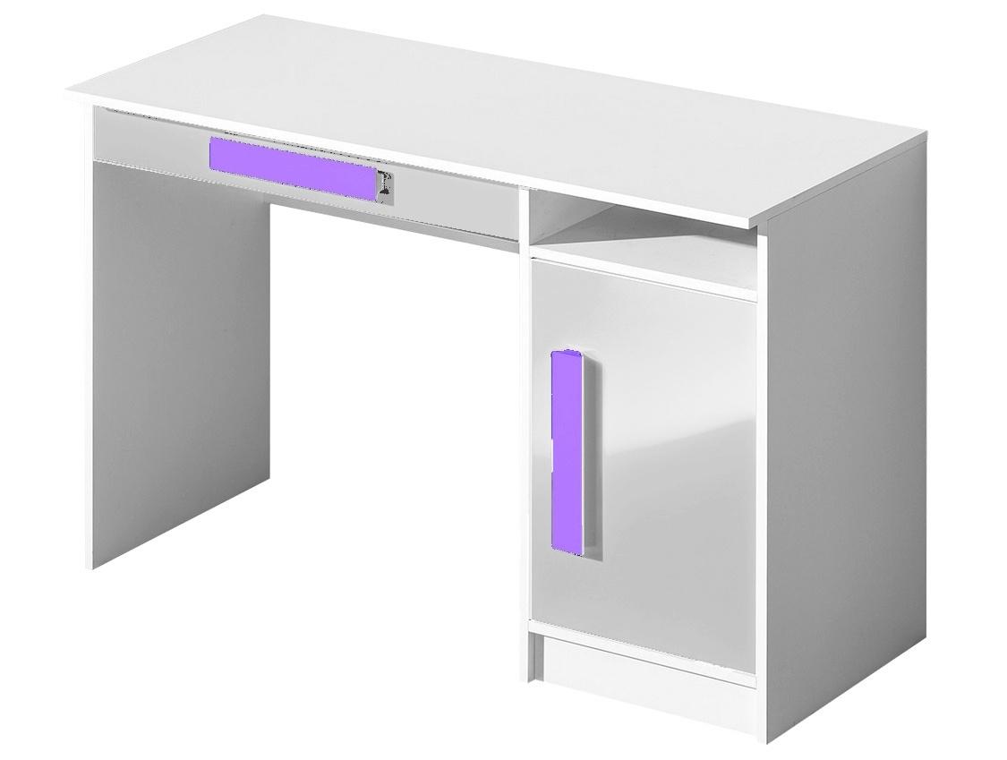pracovný stôl GULLIWER 9 biela lesk/fialová
