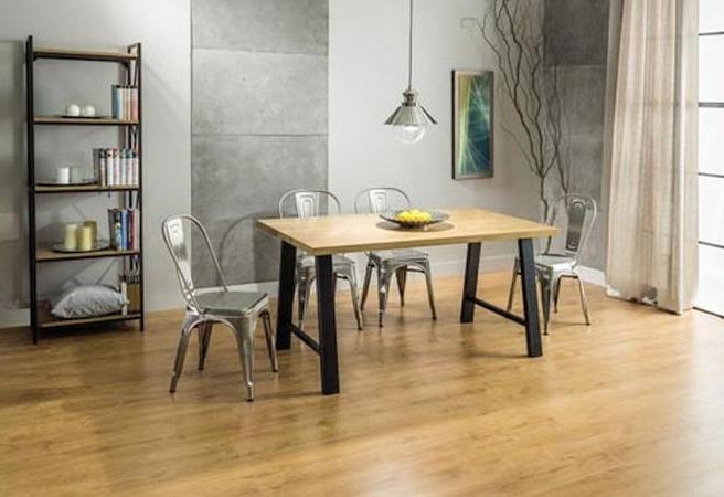 Jedálenský stôl ABRAMO dub masiv/čierný kov 90x150