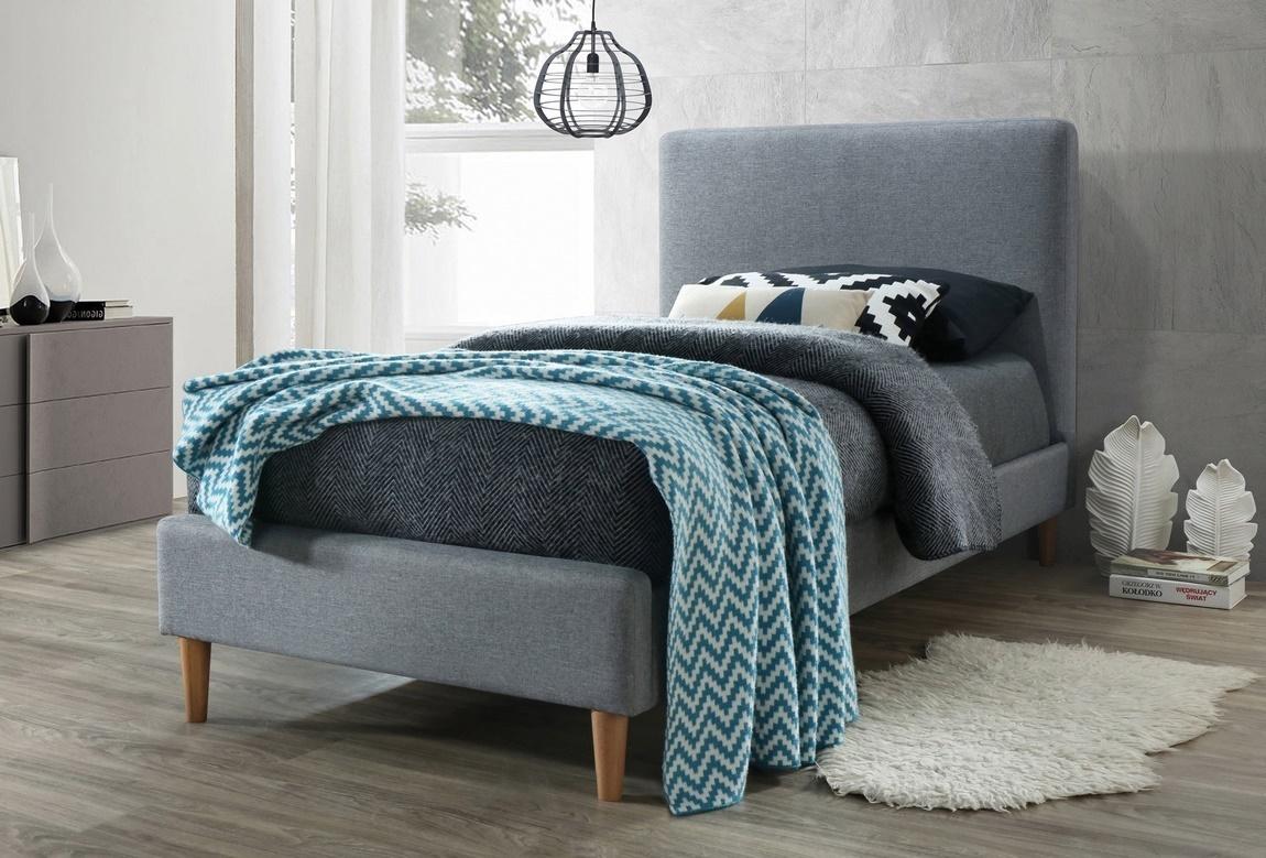 Čalúnená posteľ ACOMA 90x200 šedá/dub