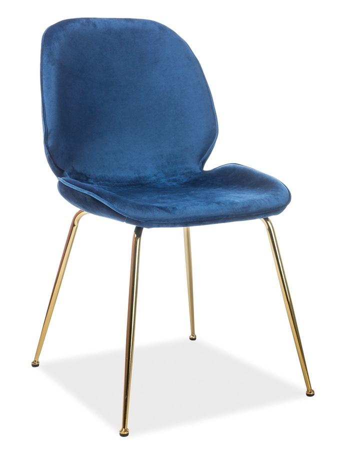 Jedálenská čalúnená stolička ADRIEN VELVET modrá