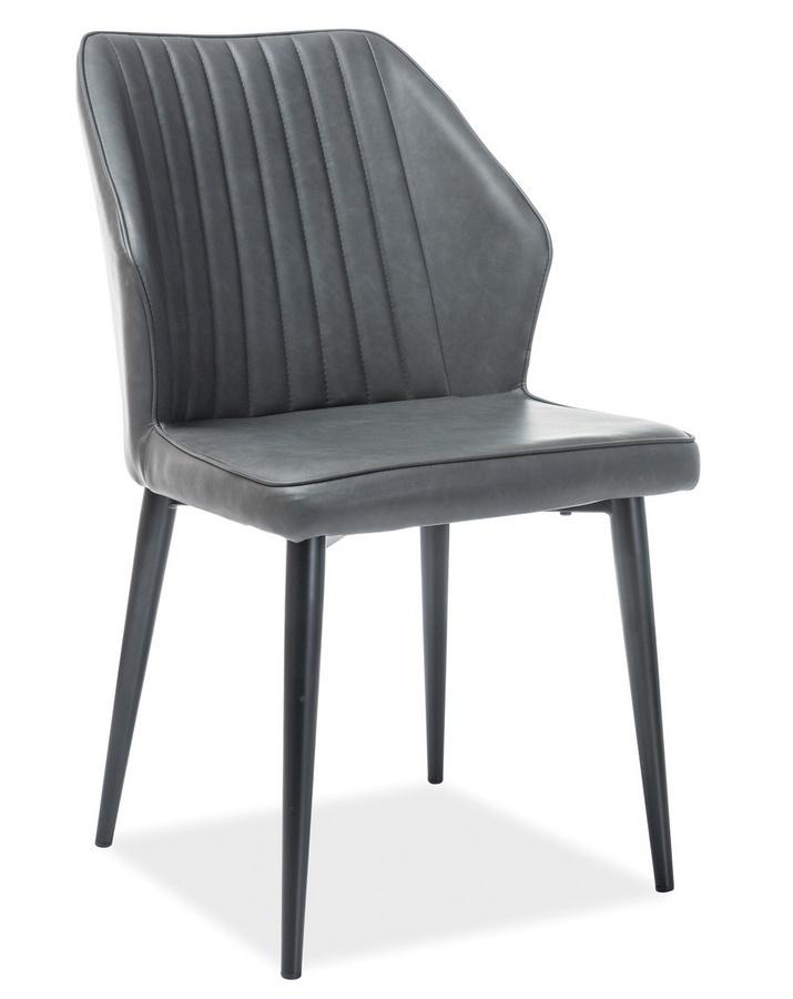 Jedálenská čalúnená stolička APOLLO šedá ekokoža/čierna