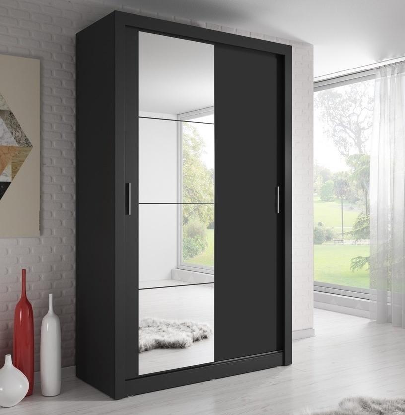šatníková skriňa 06 ARTI 120 černá zrkadlo