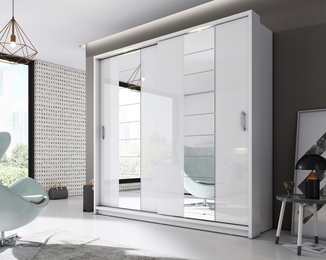 Šatní skříň 14 ARTI 220 zrcadlo bílá/bílý lesk