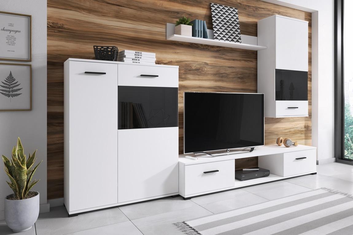 Obývacia stena ARES biela/černá