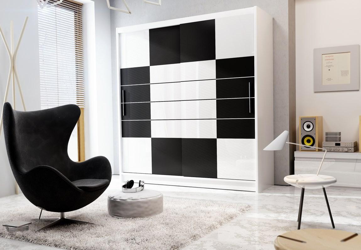 šatníková skriňa ARUBA 203 biela/černá