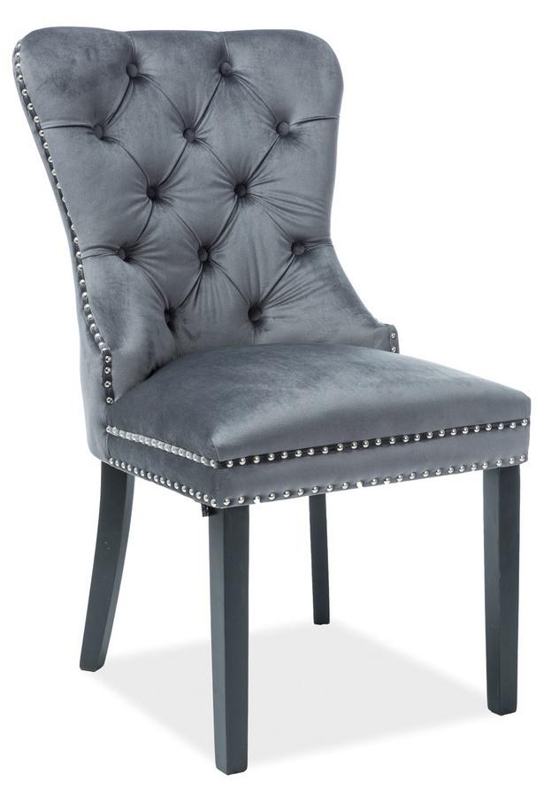 Jedálenská čalúnená stolička AUGUST VELVET šedá/čierna