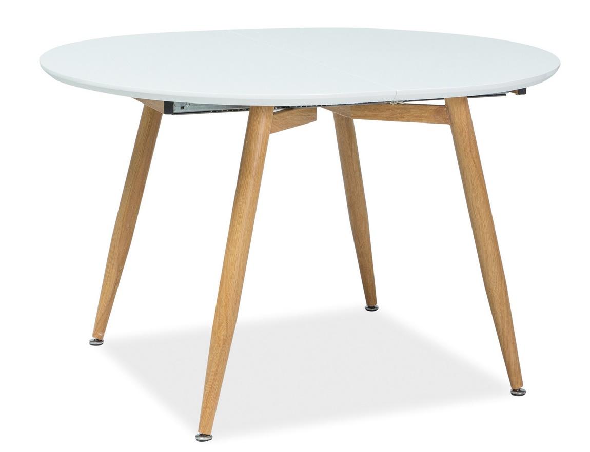Jedálenský stôl rozkladací AVON 120x100 biela/dub