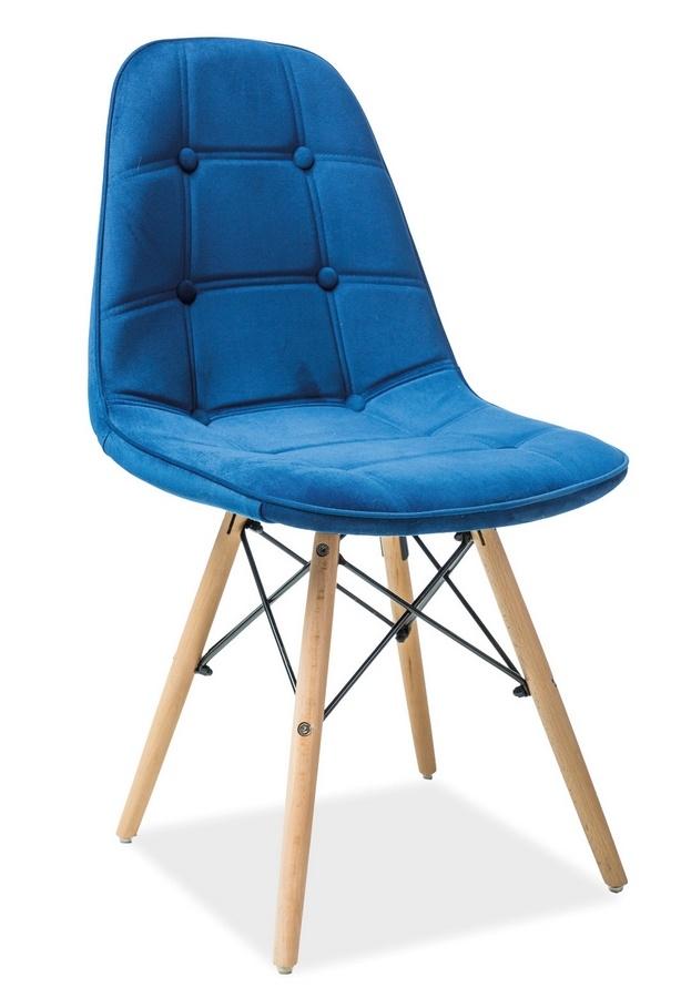Jedálenská stolička AXEL III modrá aksamit/buk