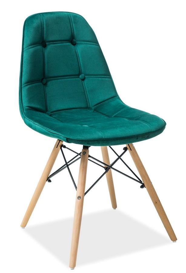Jedálenská stolička AXEL III zelená aksamit/buk