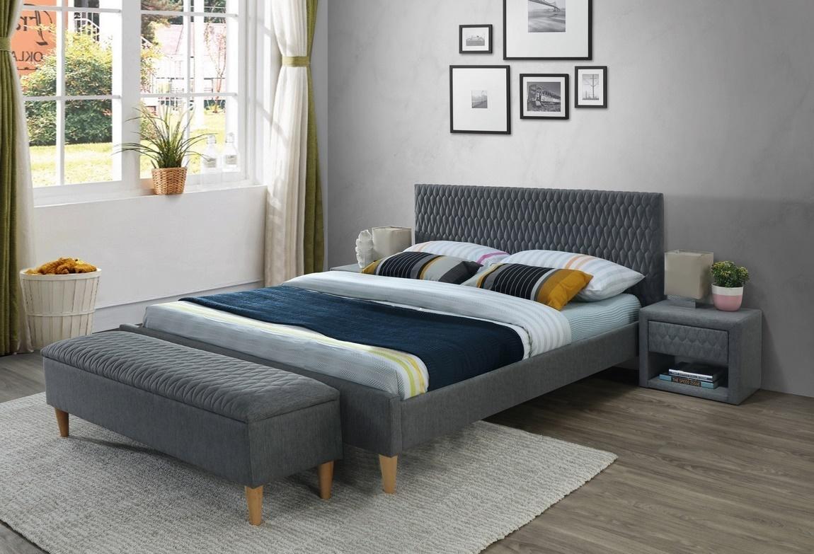 Čalúnená posteľ AZURRO 160x200 šedá/dub