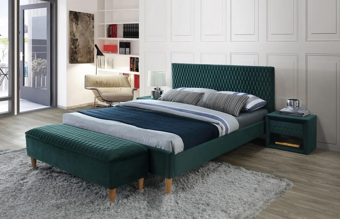 Čalúnená posteľ AZURRO VELVET 160x200 zelená/dub