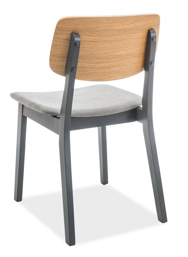 Jedálenská čalúnená stolička BENITO šedá/dub/grafit