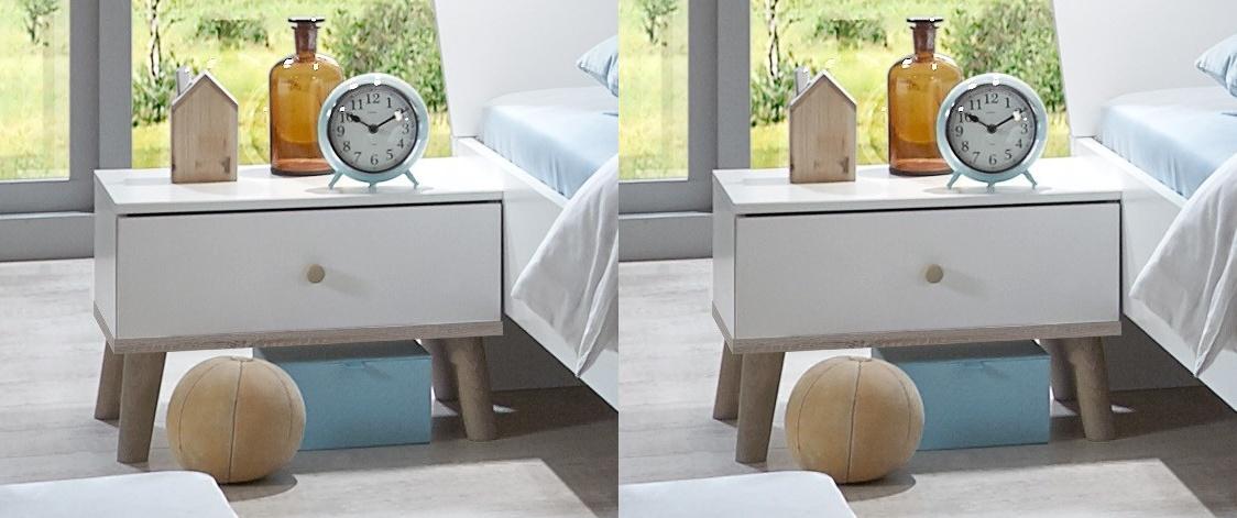 nočný stolík ( 2 ks ) BERGEN 698 biela/dub