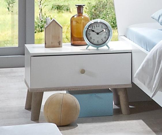 Noční stolek BERGEN 697 bílá/dub