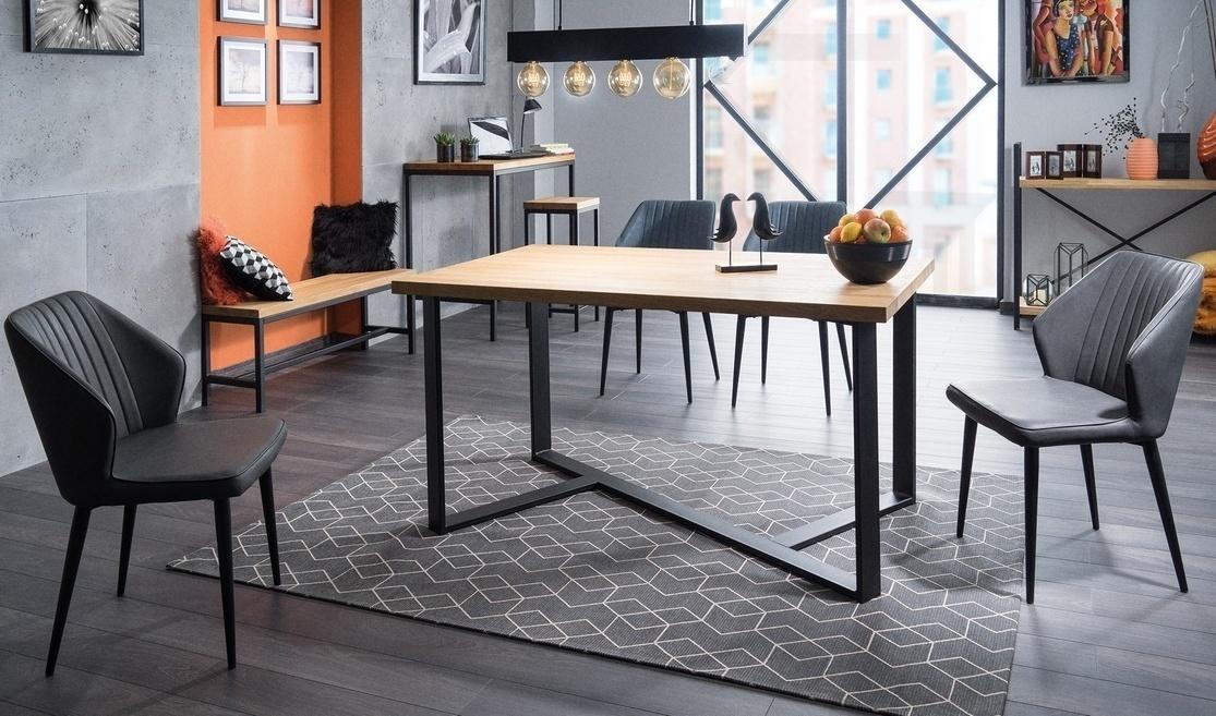 Jedálenský stôl BERNARDO 150x90 dub masiv/čierna