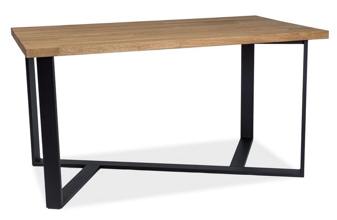 Jídelní stůl BERNARDO 180x90 dub masiv/černá