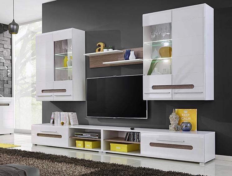*Obývací stěna BIANCO bílá lesk/sonoma