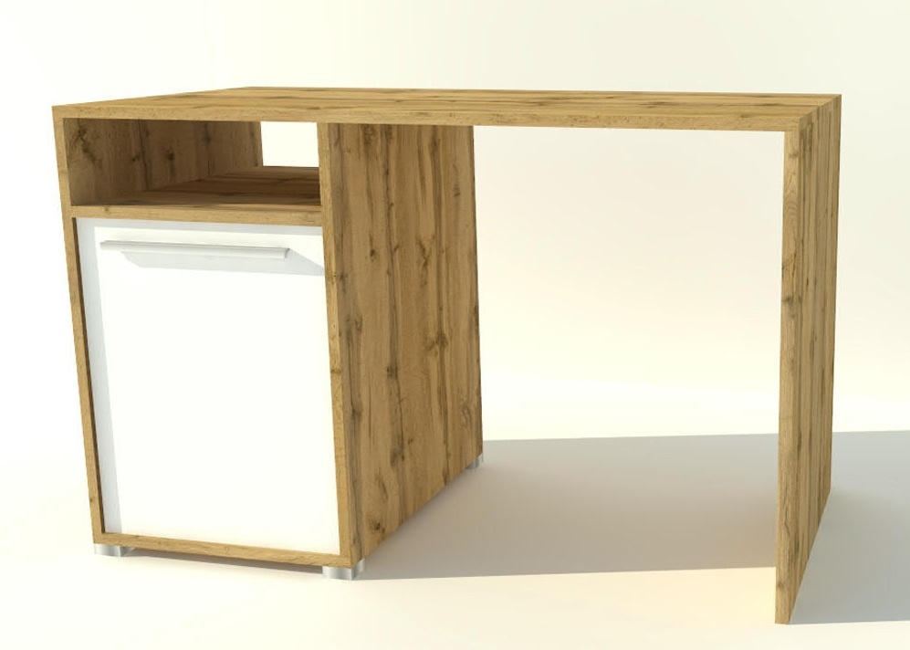 pracovný stôl JOY 88 dub wotan/biela