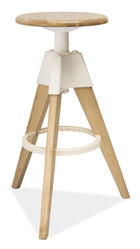 Barová stolička BODO bělený dub-biela