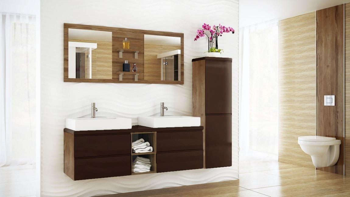 Kúpelňová zostava BONITA hnědá lesk