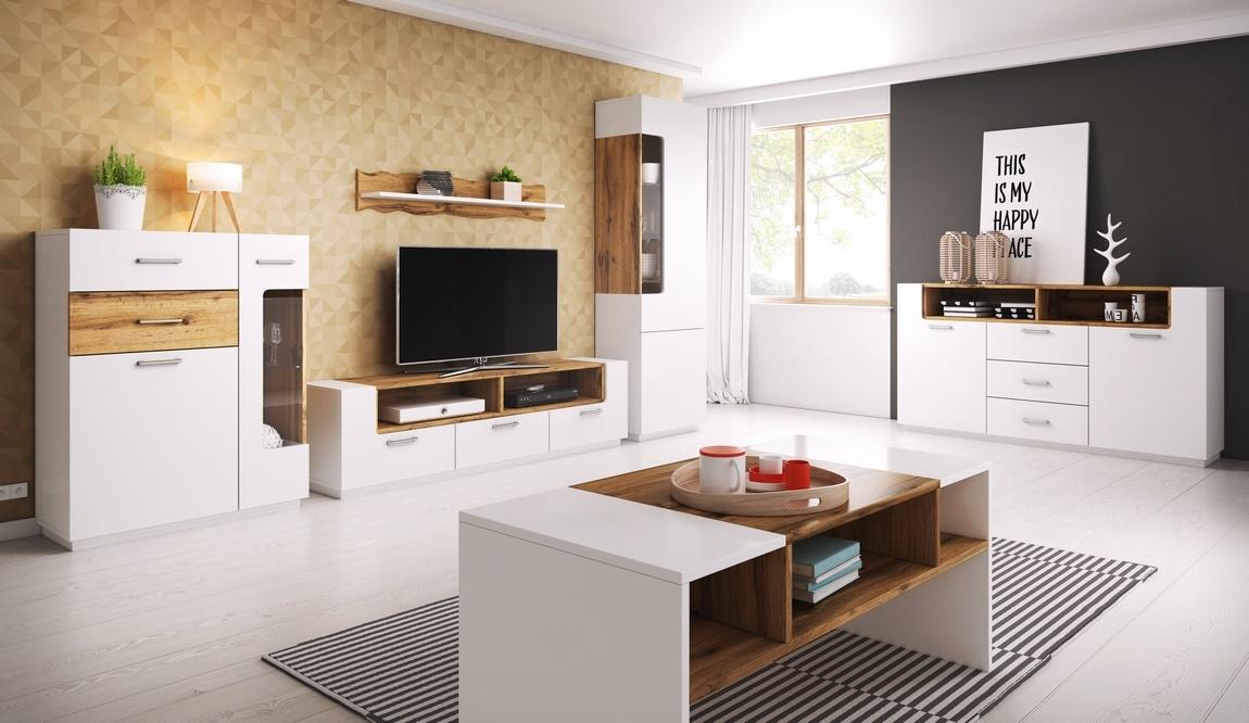 TV stolík BONUS 60 biela/dub wotan