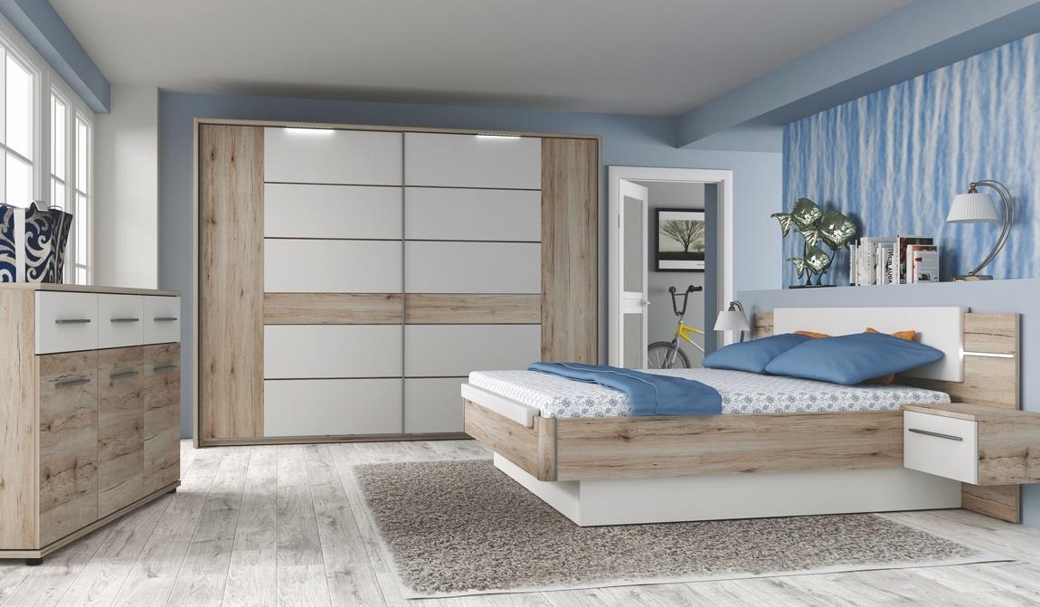 Ložnice CANBERRA (skříň, postel s nočními stolky)