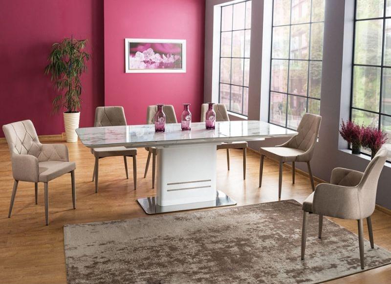 Jedálenský stôl CARTIER rozkládací biely/mramor