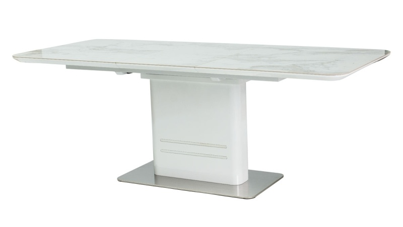 Jídelní stůl CARTIER rozkládací bílý/mramor