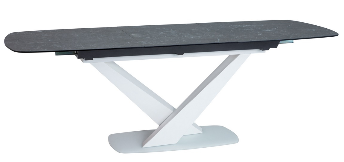 Jedálenský stôl rozkladací CASSINO II biely mat/ceramic grafit