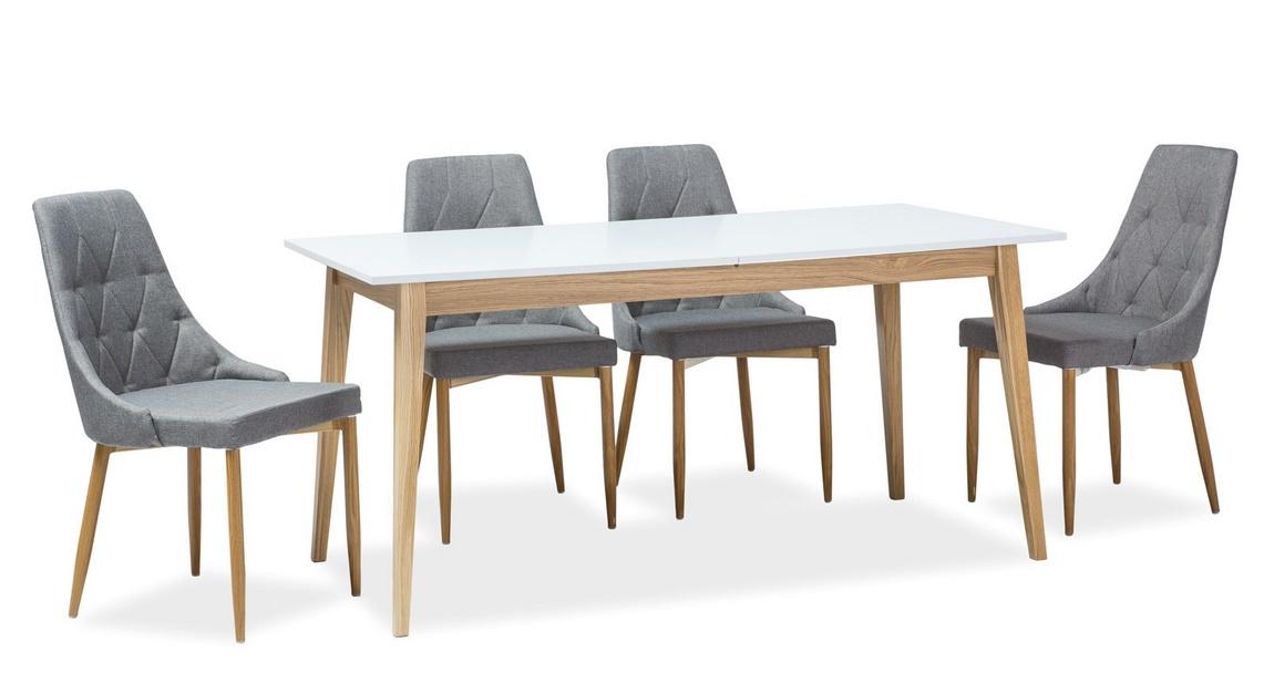 Jedálenský stôl rozkládací CESAR biela/dub
