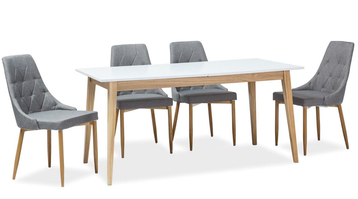 Jedálenský stôl rozkladací CESAR 120x68 biela/dub