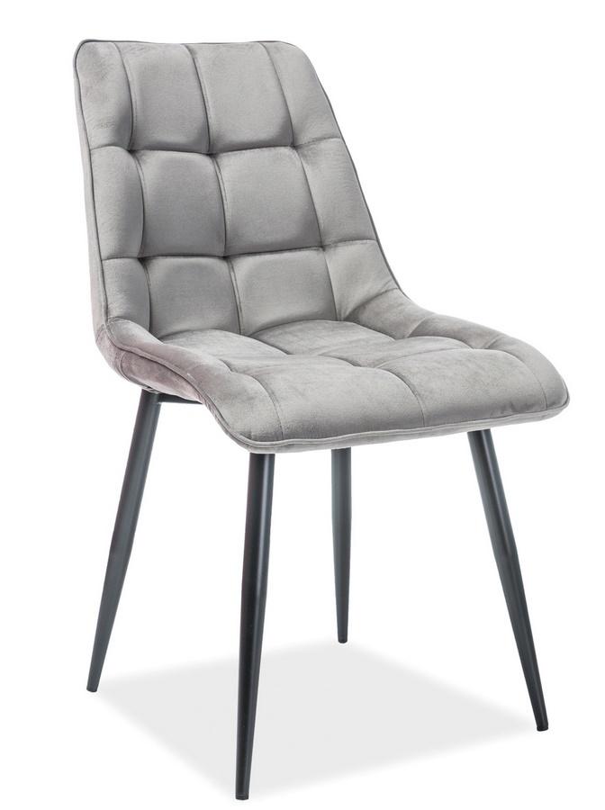 Jedálenská čalúnená stolička CHIC VELVET šedá/čierna