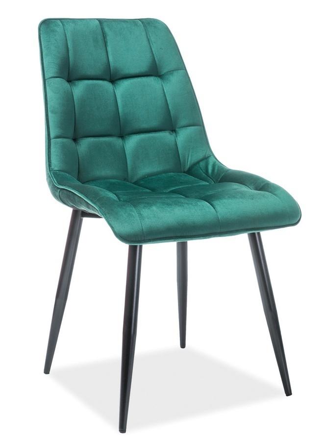Jedálenská čalúnená stolička CHIC VELVET zelená/čierna