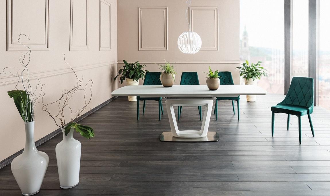 Jedálenský stôl CLAUDIO II rozkládací biely mat