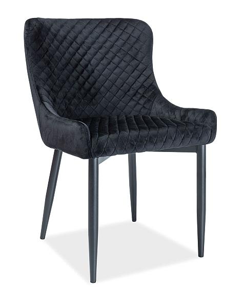 Jedálenská čalúnená stolička COLIN B VELVET čierna/čierna