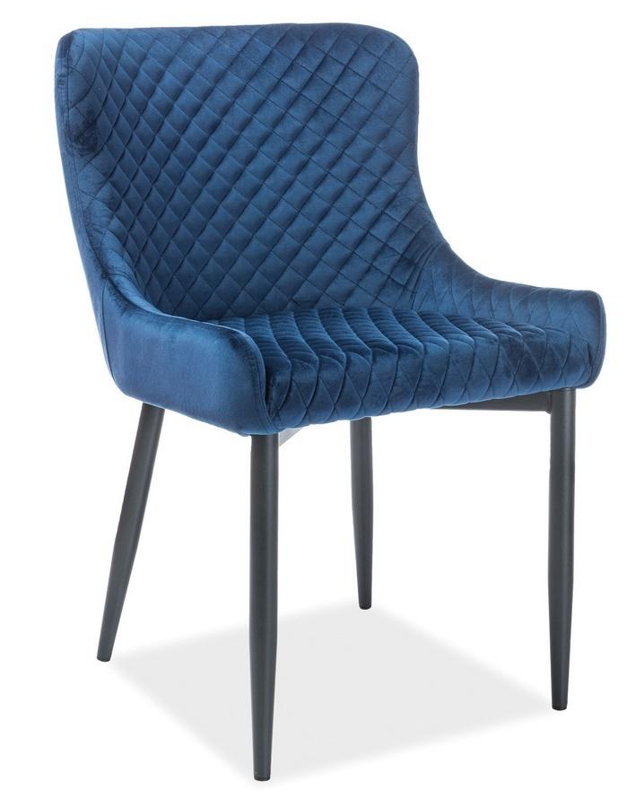 Jedálenská čalúnená stolička COLIN B VELVET modrá/čierna