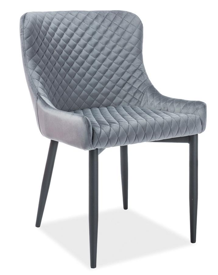 Jedálenská čalúnená stolička COLIN B VELVET šedá/čierna