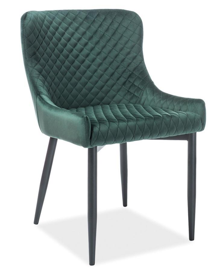 Jedálenská čalúnená stolička COLIN B VELVET zelená/čierna