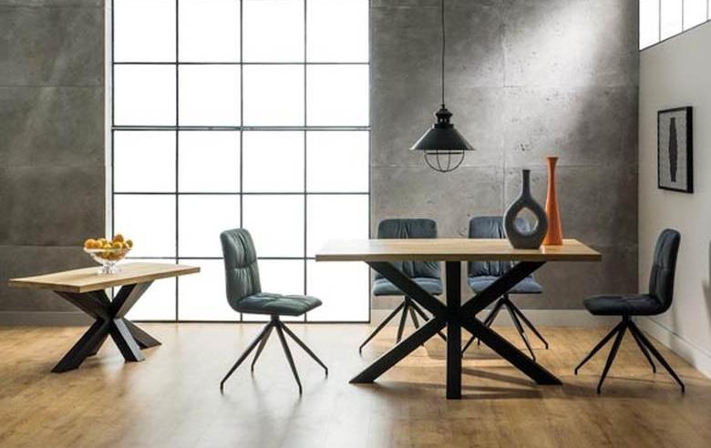 Jedálenský stôl CROSS dřevo masiv/kov 150x90