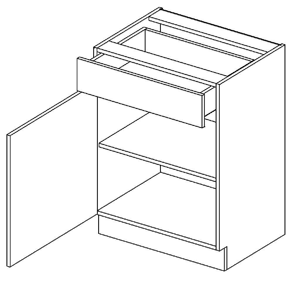 D60/S1 dolní skříňka JOPPA levá picard/bílá