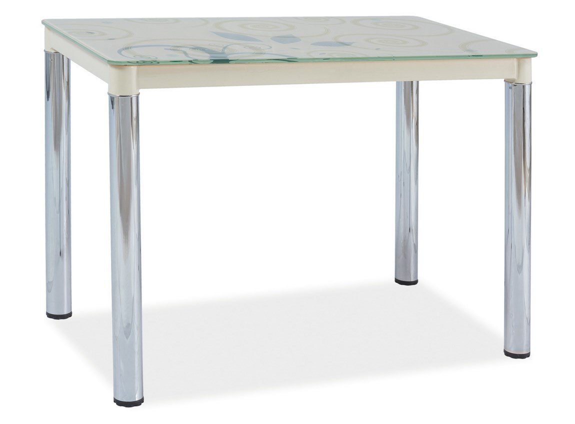 Jedálenský stôl DAMAR II krémová-chrom