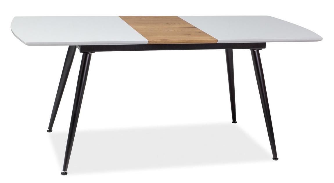 Jedálenský stôl rozkladací DAVOS 140x80 biela/dub/čierna