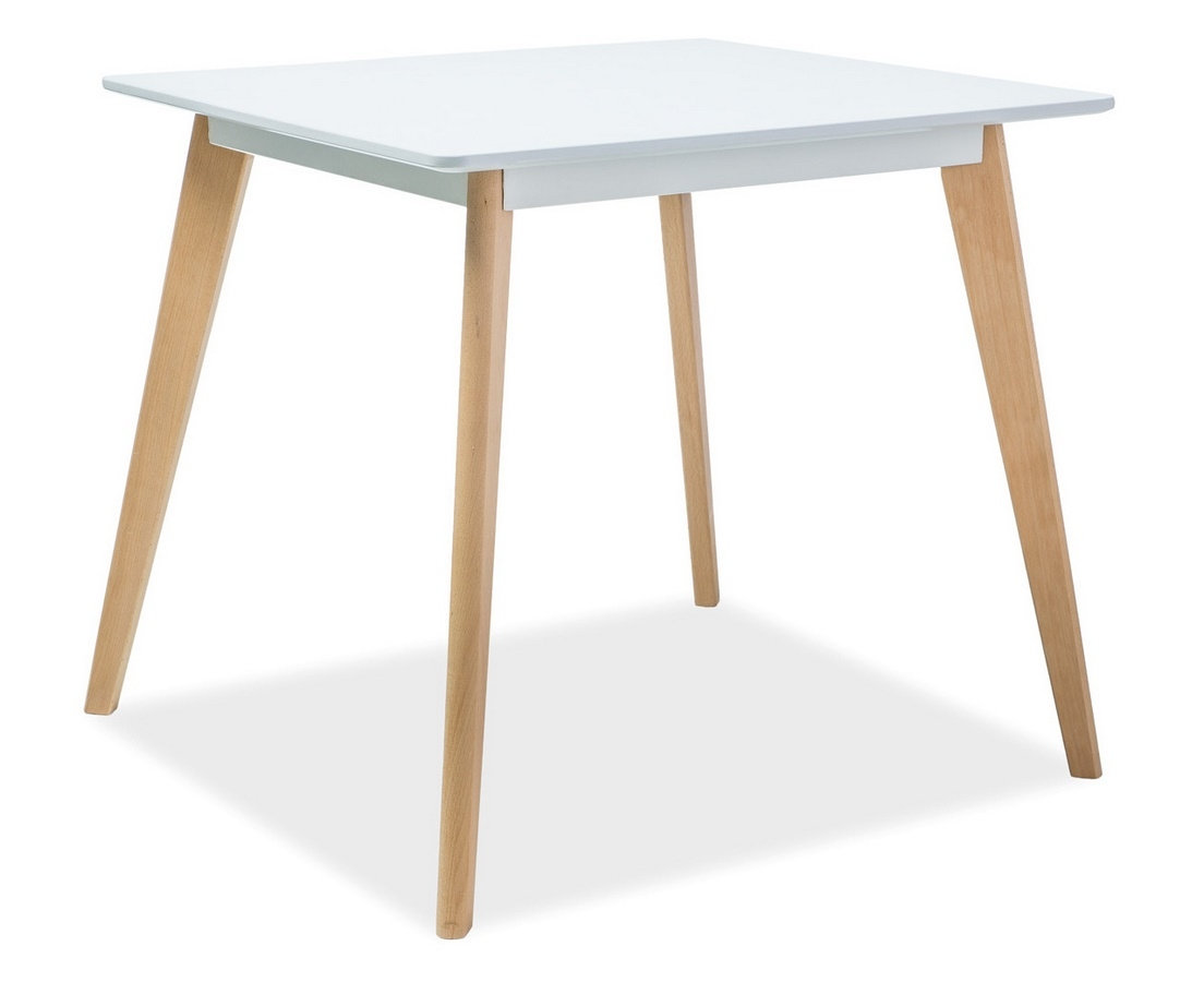 Jedálenský stôl DECLAN II 80x80 biela/buk