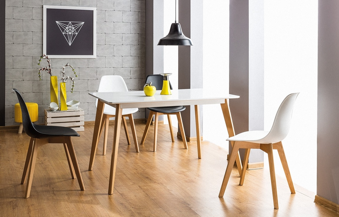 Jedálenský stôl DECLAN I 120x80 biela/buk