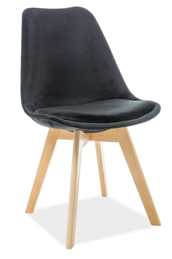 Jedálenská čalúnená stolička DIOR VELVET čierna/buk