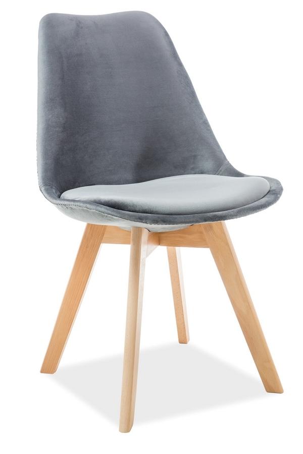 Jedálenská čalúnená stolička DIOR VELVET šedá/buk